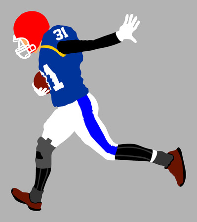 American football player in action, vector illustration.