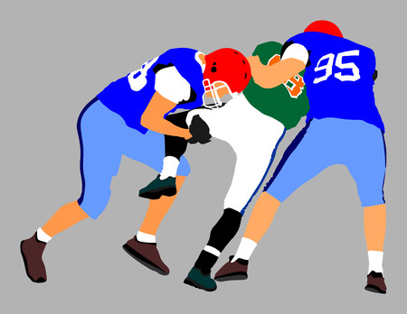 American football players duel in battle. Running in action, vector illustration isolated on background. College rugby player profile. Sport figure. Illustration