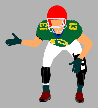 floodlit: American football player in action, vector illustration.