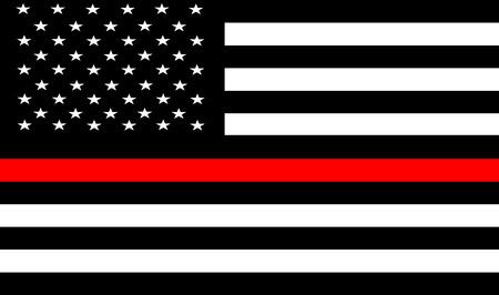 細い赤いライン消防士フラグベクトル.米国の国旗。