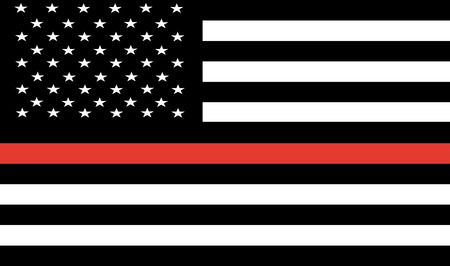 Thin Red Line Firefighter Flag Vector.