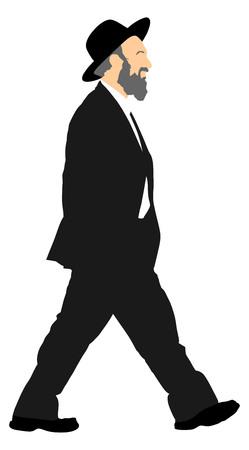 hombre Amish es la ilustración de baño silueta. hombre de negocios judío. Hombre turístico que viaja silueta ilustración aislado sobre fondo blanco. comerciante de diamantes