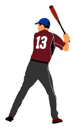 Baseball player vector. Baseball batter hitting ball with bat for Home run. 일러스트