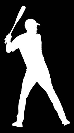 Baseball player vector silhouette. Baseball batter hitting ball with bat for Home run.