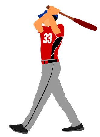 Baseball player vector illustration. Baseball batter hitting Ball with bat for Home run .