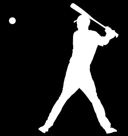 Baseball player vector silhouette. Baseball batter hitting Ball with bat for Home run.