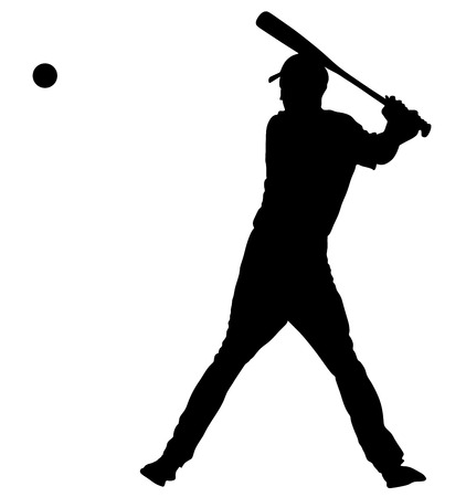 Baseball player vector silhouette. Baseball batter hitting Ball with bat for Home run .