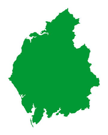 Cumbria vector silhouette map county in North West England.  イラスト・ベクター素材
