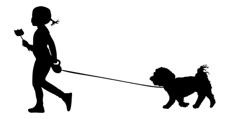 Little girl walks dog holding a lollipop ice cream. Walking with pet. Best friend concept. illustration of child and dog silhouettes. Illustration