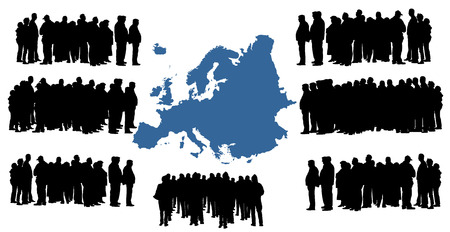 iraq conflict: Vector silhouette of a group of refugees, migration crisis in Europe. War migration waves going through Schengen Area. European, Europe union vector map background.