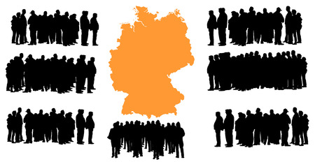 euro area: Vector silhouette of a group of refugees, migration crisis in Europe. War migration waves going through Schengen Area. Germany country vector map background. Illustration