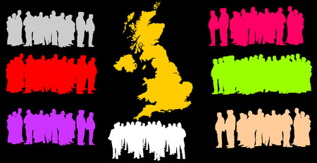 Silhouette vector of a group of refugees, migration crisis in Europe. War migration waves going through Schengen Area. United Kingdom country vector map background and England, Great Britain refugees. Vettoriali