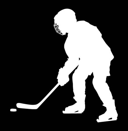 Vector hockey player silhouette with stick and a washer. Shoots the puck and attacks vector. Skating on ice. Foto de archivo - 128224855