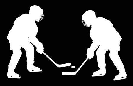 Vector of two hockey players silhouette with sticks and a washer duel. Shoots the puck and attacks vector. Skating on ice. Hockey game on ice. Battle for the win. Foto de archivo - 128224862