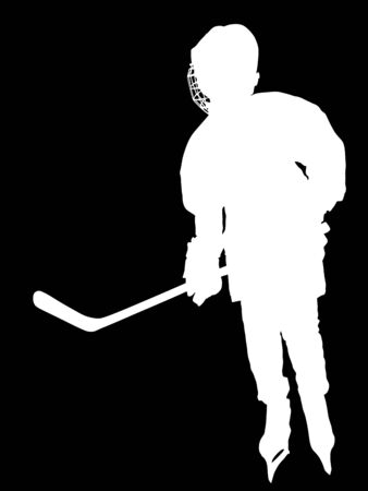 Vector hockey player silhouette with stick and a washer. Shoots the puck and attacks vector. Skating on ice. Foto de archivo - 128224859