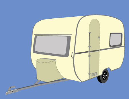 Camping trailer vector illustration isolated on background. Camp moving home.