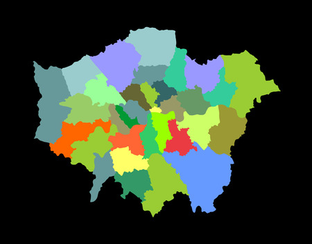 divisions: Greater London vector silhouette map isolated on black background. London map of main town in United Kingdom and in England country. Illustration