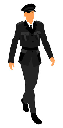 Elegant pilot in uniform walking, vector isolated on white background. Army soldier ceremony walking. (Memorial day, Veteran, 4th of july, Independence day). officer in ceremonial uniform walking. Illustration