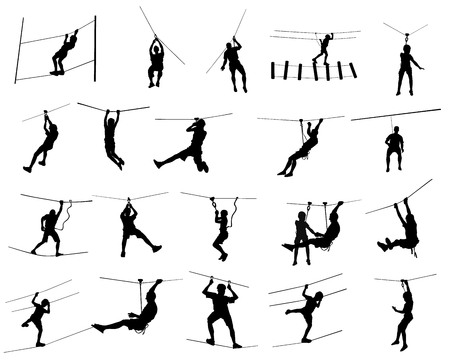 rope ladder: Extreme sportsman took down with rope, big collection. Man climbing vector silhouette illustration, isolated on the white background. Sport weekend action in adventure park rope ladder. Ropeway for fun, team building