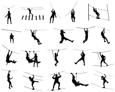 Sportif extrême décroché avec une corde. Homme escalade illustration de silhouette vecteur, isolée sur fond blanc. Action de fin de semaine sportive dans l?échelle de corde du parc aventure. Téléphérique pour le plaisir, team building. Vecteurs
