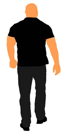 Bouncer walking illustration. Security Guards nightclub. Strong man walking. Body builder back view. Illustration