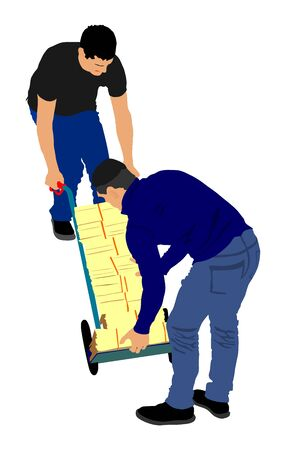 Hard workers pushing wheelbarrow and carry big box vector illustration isolated on white. Delivery man moving package by cart. Service moving transport. Warehouse job activity. Looting bailiff laborer Illusztráció