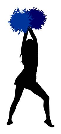 Cheerleader dancers figure vector silhouette illustration isolated. Cheer leading girl sport support. High school, college cheerleading formation. Gymnastic legs apart pose perform. Energy dance fan. 向量圖像