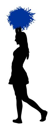 Cheerleader dancers figure vector silhouette illustration isolated. Cheer leading girl sport support. High school, college cheerleading formation. Gymnastic legs apart pose perform. Energy dance fan.