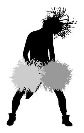 cheer leader: Cheerleader dancer vector silhouette illustration isolated on white background.