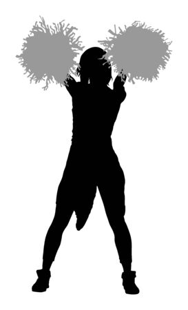 Cheerleader dancer figure vector silhouette illustration isolated. Cheer leading girl sport support. High school, collage cheerleading formation. Gymnastic legs apart pose perform. Energy dance fan.