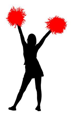 Cheerleader dancer vector silhouette illustration isolated on white background.