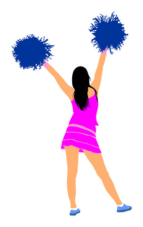Cheerleader dancer figure silhouette illustration isolated. Cheer leading girl sport support. High school, collage cheerleading formation. Gymnastic legs apart pose perform. Energy dance fan. Illustration