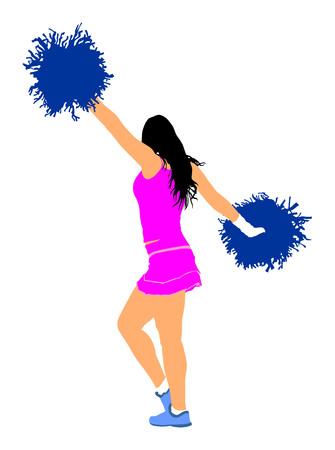 cheer leading: Cheerleader dancer vector illustration isolated on white background.