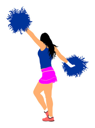 Cheerleader dancer figure vector illustration isolated. Cheer leading girl sport support. High school, collage cheerleading formation. Gymnastic legs apart pose perform. Energy dance fan.