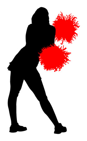 outstretched: Cheerleader dancer vector silhouette illustration isolated on white background.