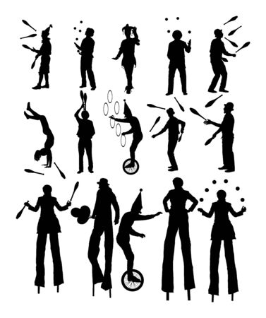 Clown in circus on stilts with balloons vector silhouette isolated on white background. Street actor illustration. Juggler artist vector, Juggling with balls, pins. Performer Artist acrobat animator.