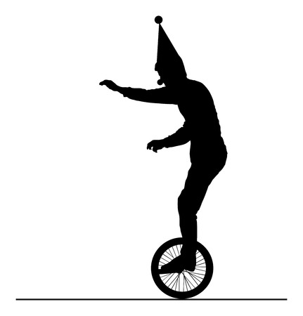 Circus Artist performer, vector silhouette on white background. Clown on monocyclic ride on string.