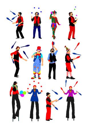 Clown op stelten met ballonsvector op witte achtergrond wordt geïsoleerd die. Stock Illustratie