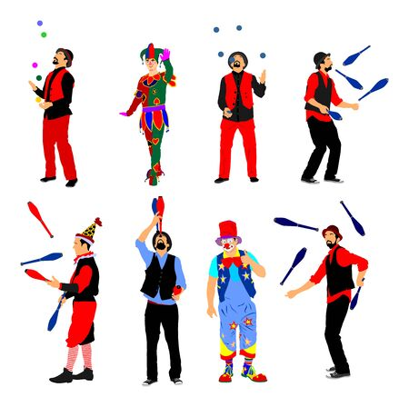 Clown in circus on stilts with balloons vector isolated on white background. Street actor illustration. Juggler artist vector, Juggling with balls and pins. Performer Artist acrobat. Birthday animator Stock Vector - 128224968