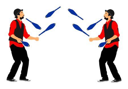 Juggler artist vector, Juggling with pins. Clown in circus jugging performs skill. Children birthday animator. Carnival attraction. Street performer acrobat public entertainment. Man skills
