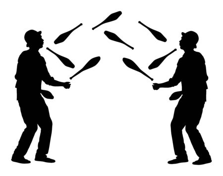 Juggler artist vector silhouette, Juggling with pins. Clown in circus jugging performs skill. Children birthday animator. Carnival attraction. Street performer acrobat public entertainment. Man skills Stock Vector - 128224992