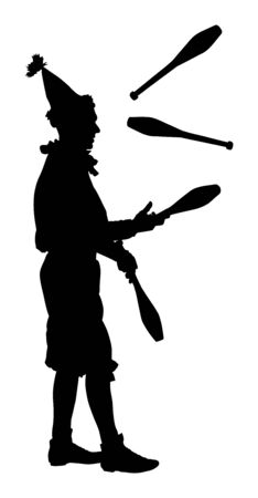Juggler artist vector silhouette. Juggling with pins. Clown in circus jugging performs skill. Children birthday animator. Carnival attraction. Street performer acrobat public entertainment man skills.