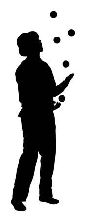 Juggler artist vector silhouette. Juggling with balls. Clown in circus jugging performs skill. Children birthday animator. Carnival attraction. Street performer acrobat public entertainment man skills. Illustration