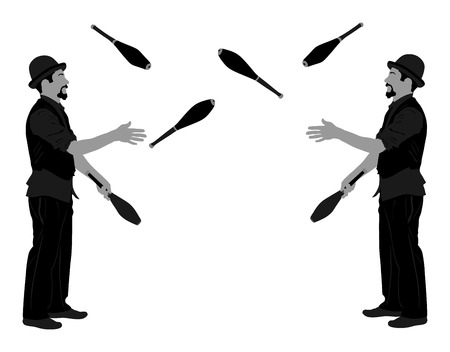 Jugglers artist vector, Juggling with pins silhouette. Clowns in circus jugging performs skill. Stock Illustratie
