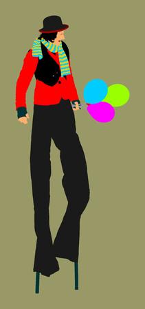 Clown on stilts vector isolated on background. Street actor illustration. juggler artist. Animator with balloons. Illustration