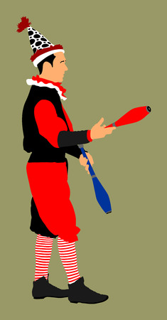 costume ball: Juggler artist vector, Juggling with pins. Clown ic circus performs.