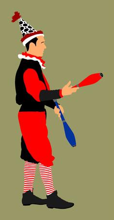 display problem: Juggler artist vector, Juggling with pins. Clown ic circus performs.