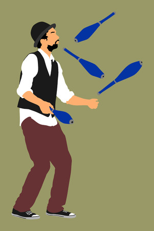 Juggler artist vector, Juggling with pins. Clown in circus jugging performs skill. Illustration