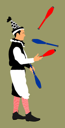 Juggler artista vettore, il giocoliere con spilli colorati. Clown in circo eseguire.