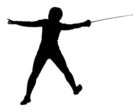 Swordplay black shadow. Fencing vector silhouette. Fencing competition event.